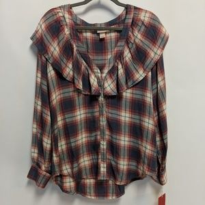 Mossimo Plaid Ruffle Long Sleeve Button Front L/XL